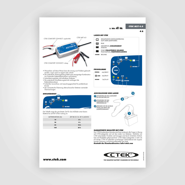 ctek mxt 4 0 ladeger t f r 24v batterien ctek batterie. Black Bedroom Furniture Sets. Home Design Ideas